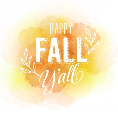 Vector autumn label on colorful watercolor background EPS 10 clip art vector