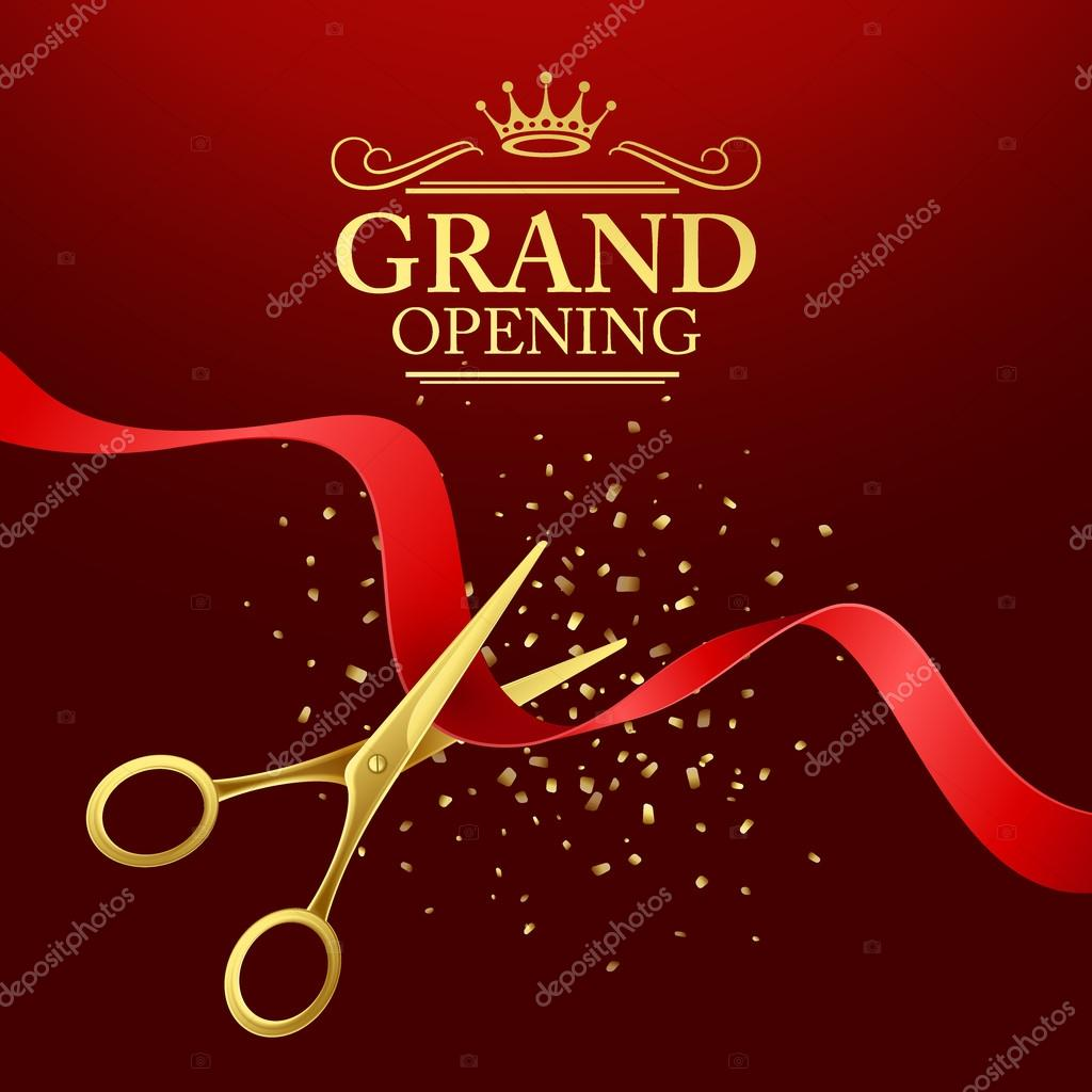 grand opening illustration with red ribbon and gold scissors stock