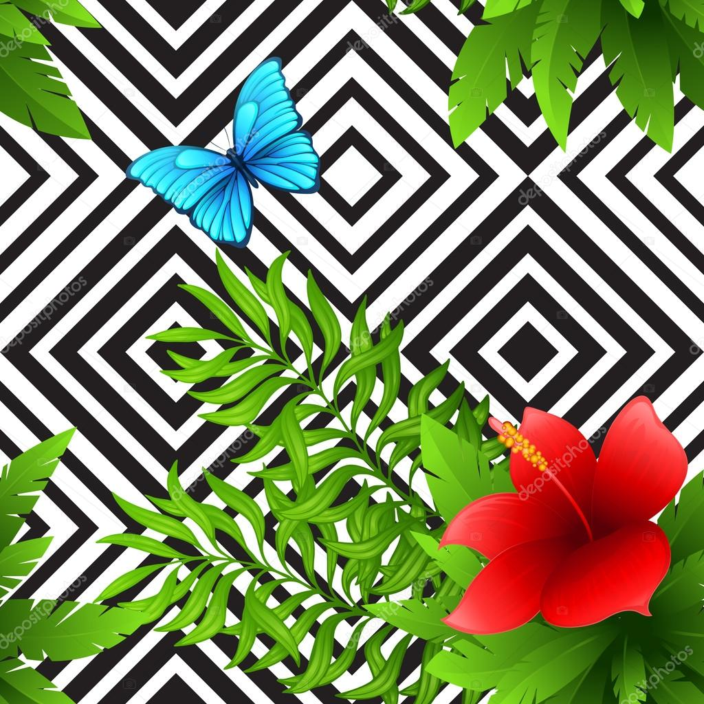Vector hibiscus and palm leaves tropical pattern with blue butterfly, black and white geometric background