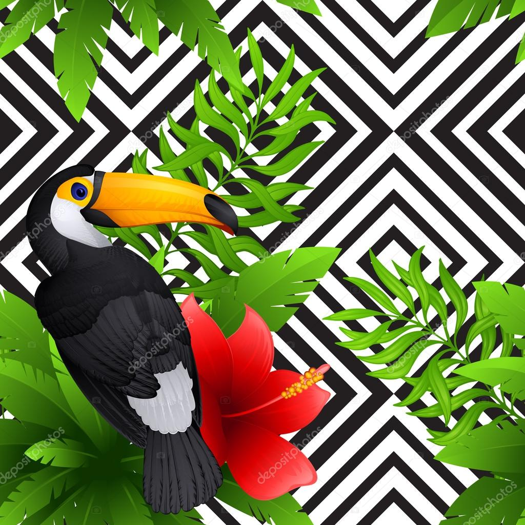 Vector tropical pattern with toucan and  hibiscus, palm leaves , black and white geometric background
