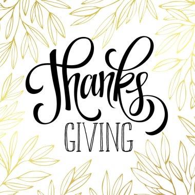Thanksgiving - gold glittering lettering design. Vector illustration