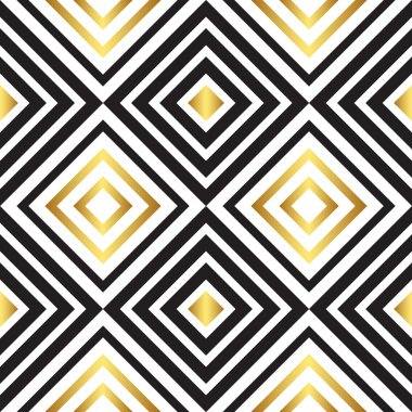 Seamless black and gold pattern. Vector illustration