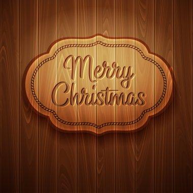 Merry Christmas frame on wooden background. Vector illustration