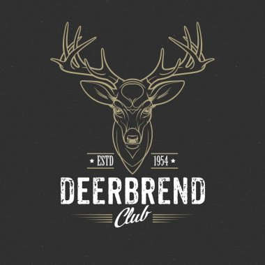 Deer head Design Element in Vintage Style. Vector illustration.