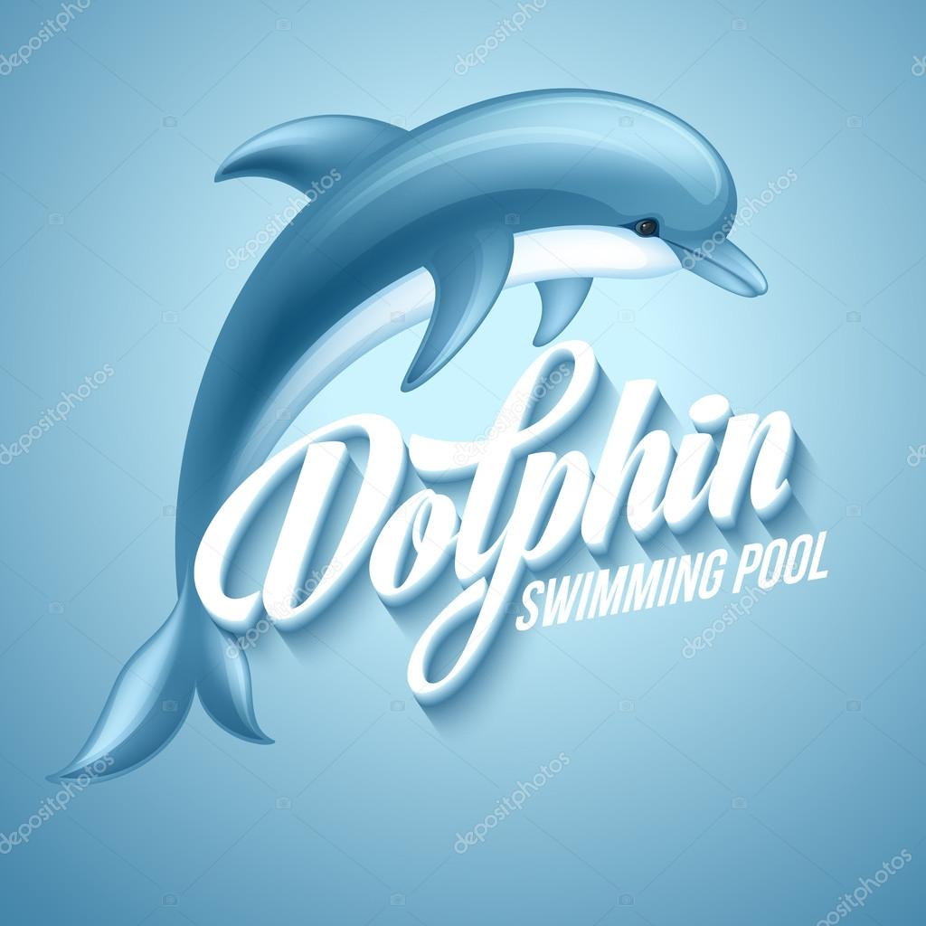 Dolphin. Swimming pool sign template. Vector illustration.
