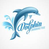Photo Dolphin. Swimming pool sign template. Vector illustration.