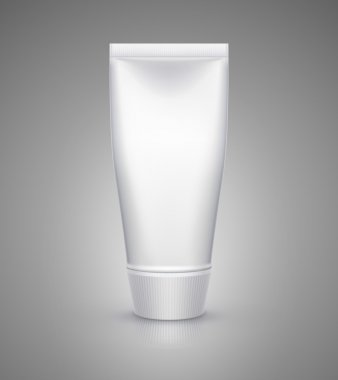 White tube mock-up for cream, tooth paste, gel, sauce, paint, glue. Vector illustration