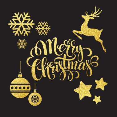 Christmas gold glitter  elements. Vector illustration