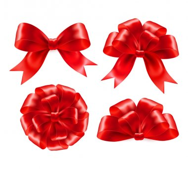 Set of red gift bows with ribbons. Vector illustration EPS 10 stock vector