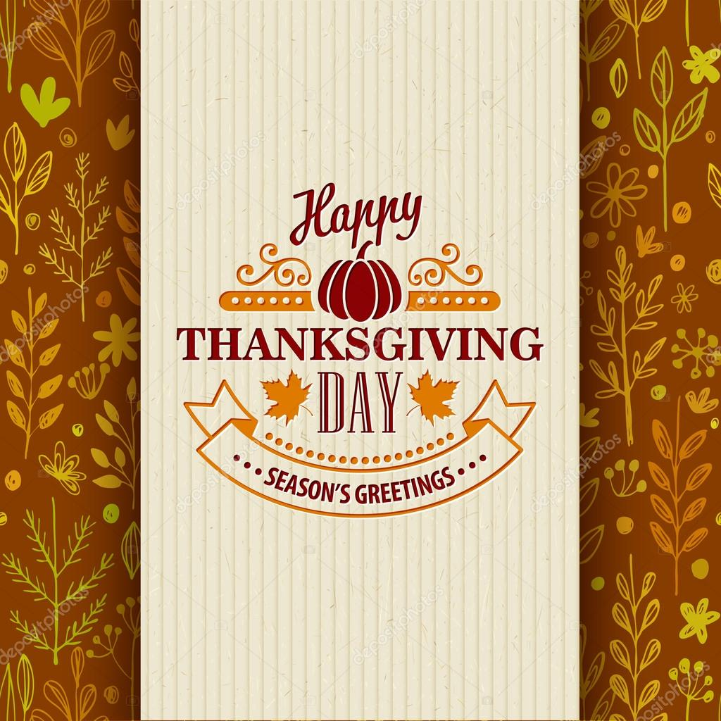 Thanksgiving typography greeting card on seamless pattern. Vector illustration