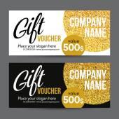Ajándék kártya tervez-val arany csillogó textúra. Vektoros illusztráció