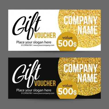 Gift Card Design with Gold Glitter Texture. Vector illustration
