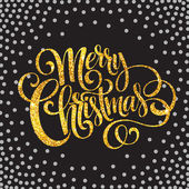 Fényképek Boldog karácsonyt arany csillogó felirat design. Vektoros illusztráció