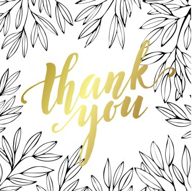 Thank you golden  lettering design. Vector illustration