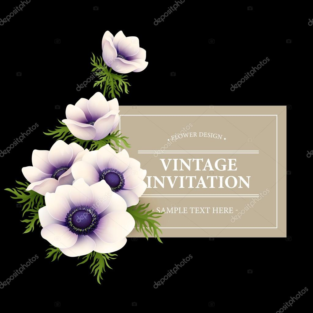 Greeting card with anemone flower. Vector illustration