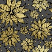 Floral golden seamless pattern. Vector illustration