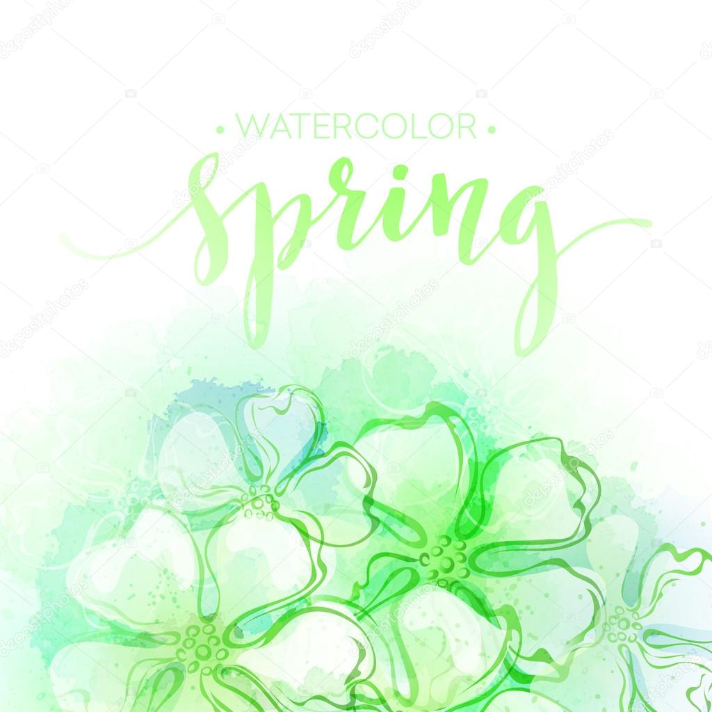 Watercolor spring flower background. Vector illustration