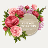 Fotografie Vintage  Greeting Card with Blooming Flowers.  Vector Illustration