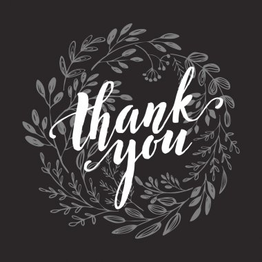 Thank You Card  chalk drawing on the blackboard. Vector illustration