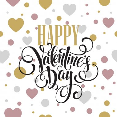 Happy Valentines Day Hand Drawing Lettering design. Vector illustration