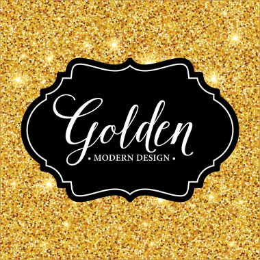 Vector label frame silhouette on the gold glitter background. Vector illustration