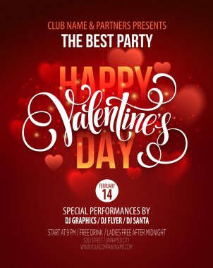 Valentines Day Party Poster Design. Template of invitation, flyer, poster or greeting card. Vector illustration