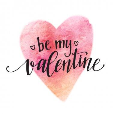 """Картина, постер, плакат, фотообои """"акварель день святого валентина надпись будьте мои валентина на розовом акварельном фоне. векторная иллюстрация """", артикул 95305004"""