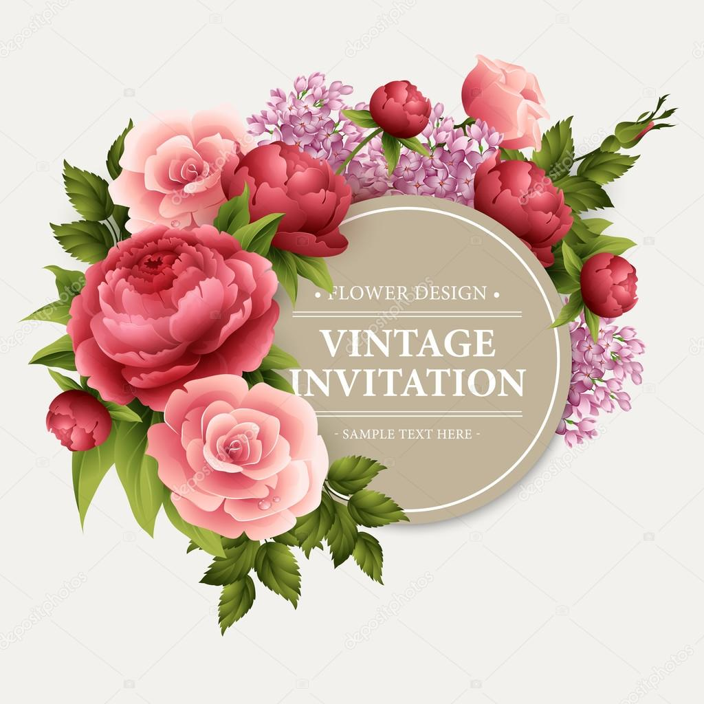Vintage Greeting Card With Blooming Flowers Vector