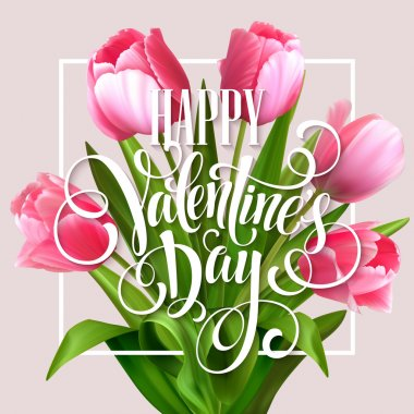 Valentines day greeting card with tulips flowers. Vector illustration