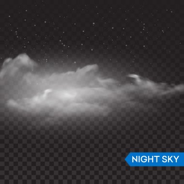 Night isolated realistic transparent clouds. Vector illustration