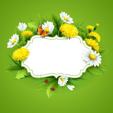 Fresh spring background with grass, dandelions and daisies. Vector stock vector