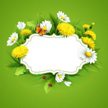 "Картина, постер, плакат, фотообои ""свежий весенний фон с травой, одуванчиками и ромашками "", артикул 98194044"