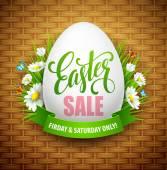 Fotografie Ostern-Verkauf-Hintergrund mit Eiern und Frühlingsblume. Vektor-illustration