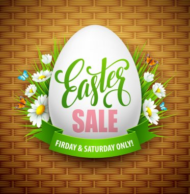Easter sale background with eggs and spring flower. Vector illustration