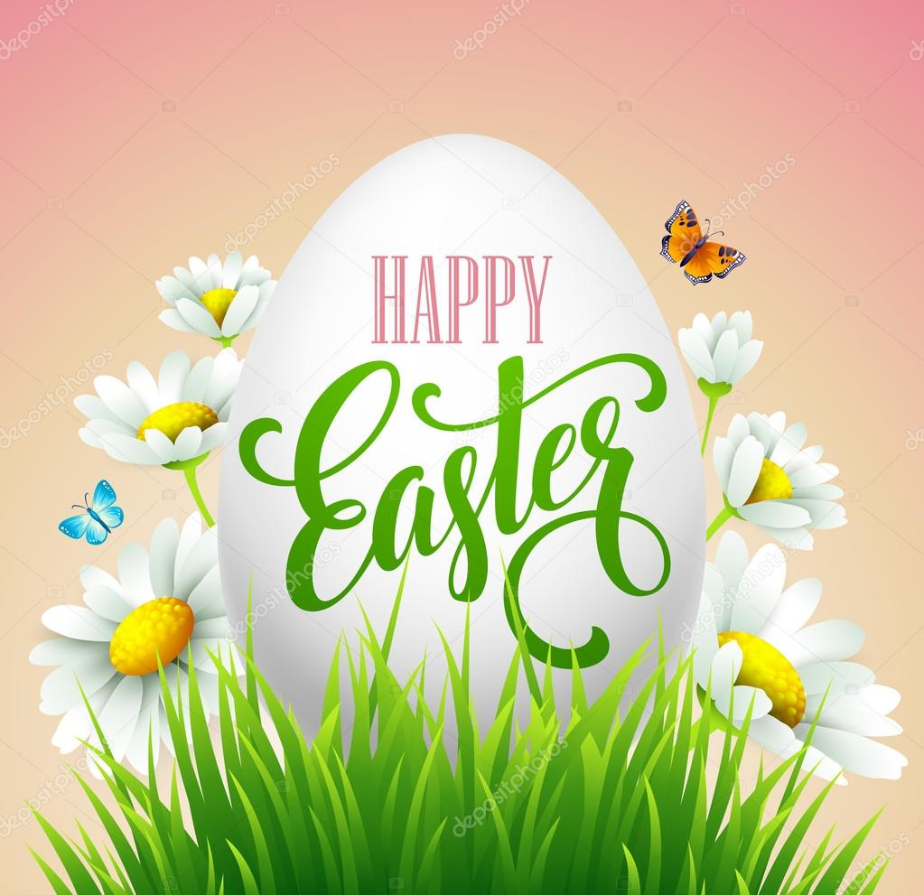 Easter greeting lettering. Eggs and flowers. Vector illustration