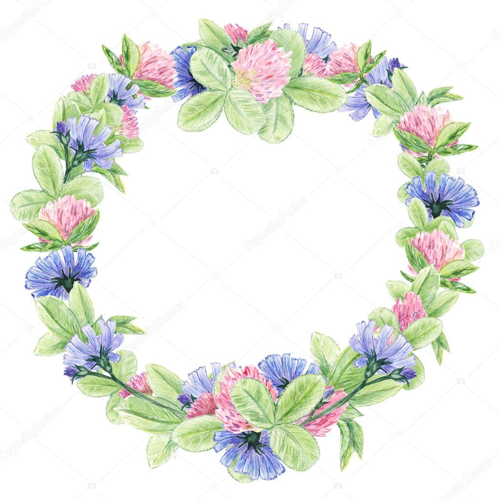 Flower watercolor wreath