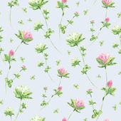 Seamless pattern with watercolor flowers of clover