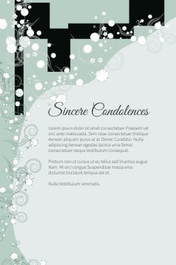 Vector funeral card with elegant abstract floral motif