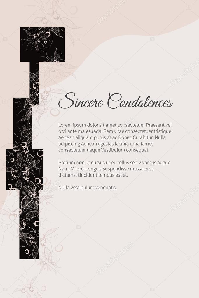 Beerdigung Karte.Vektor Beerdigung Karte Mit Eleganten Abstrakten Blumenmotiv