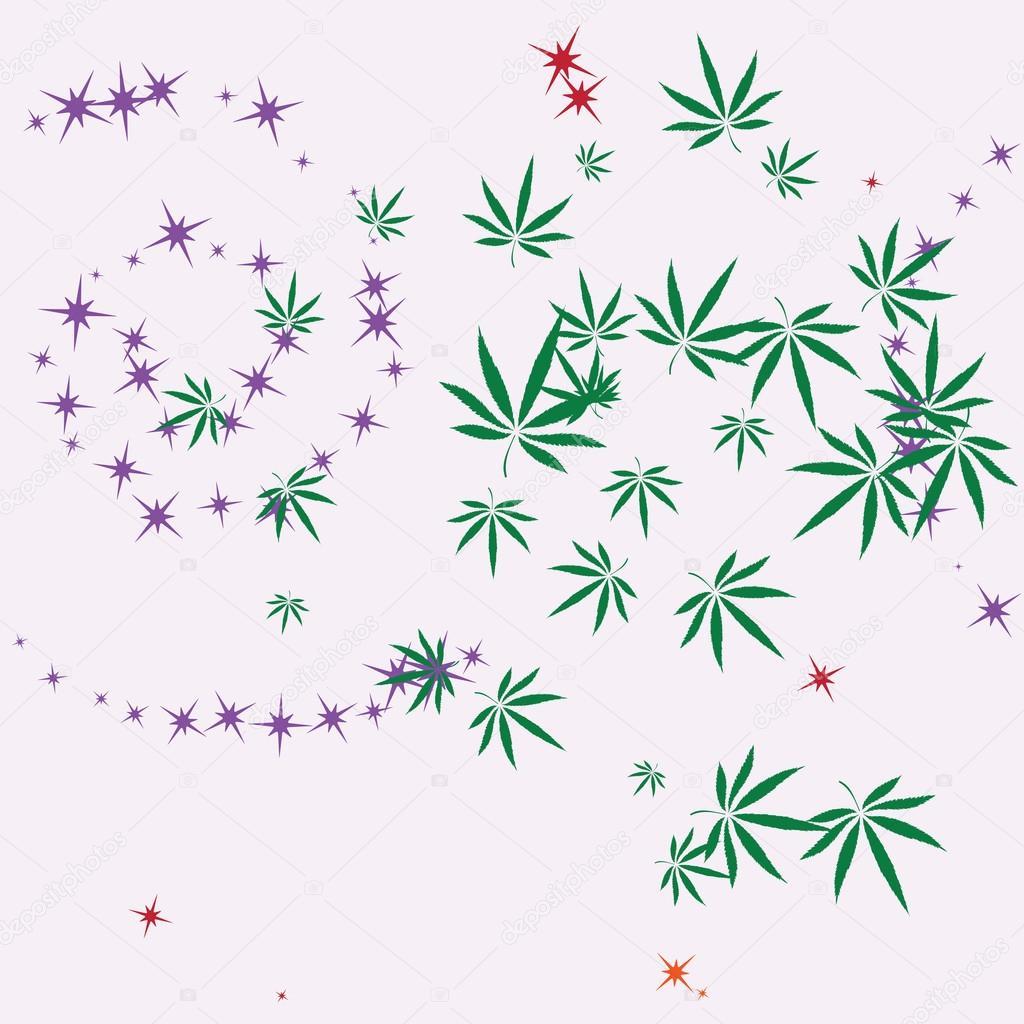 Hojas de patrones sin fisuras abstracto colorido con cannabis ...