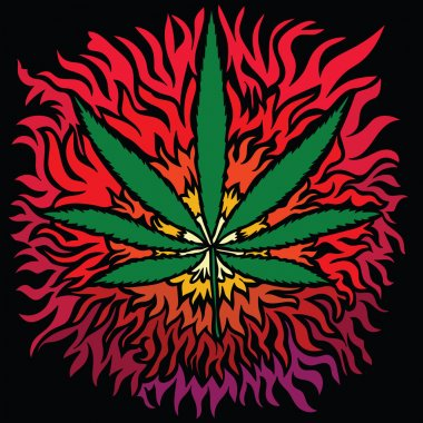 Colorful image of cannabis in abstract art style