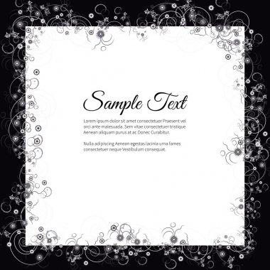 Funeral invitation card with elegant abstract floral motif, dark
