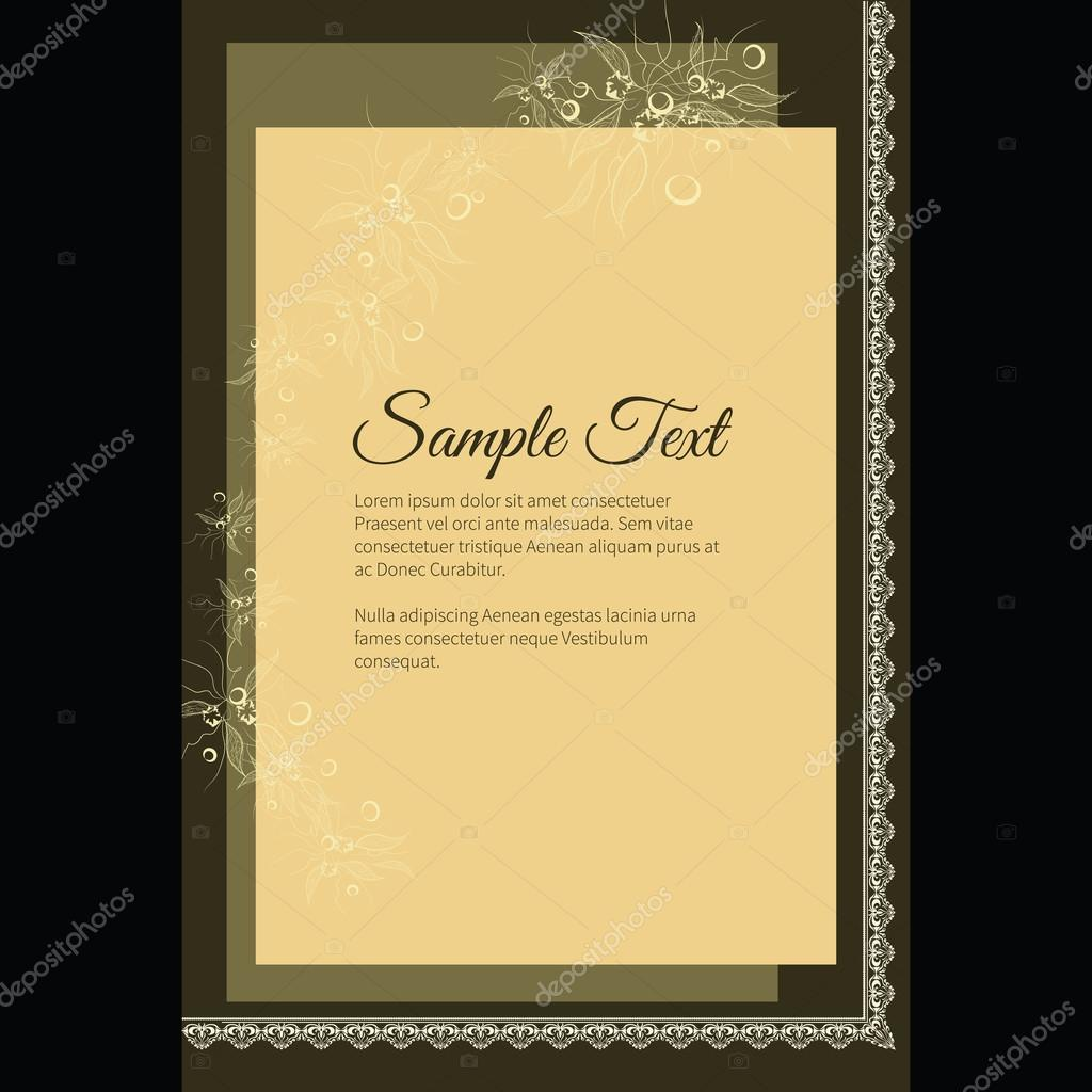 Funeral invitation card with elegant abstract floral motif, dark ...