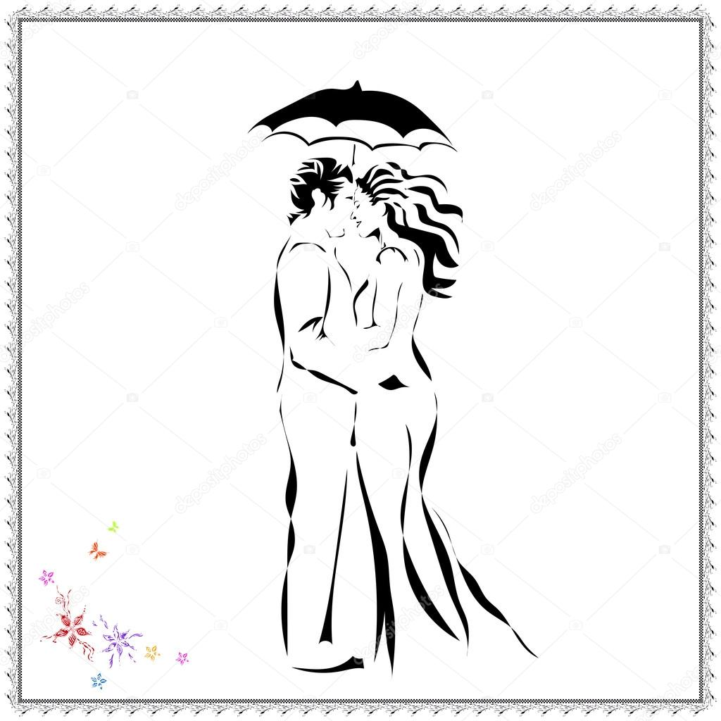 Dessin Au Trait Noir image vectorielle d'amour jeune couple dans un style abstrait