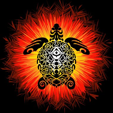 Totem Pole - Turtle. Vector image in abstract art style, done in a slightly psychedelic manner
