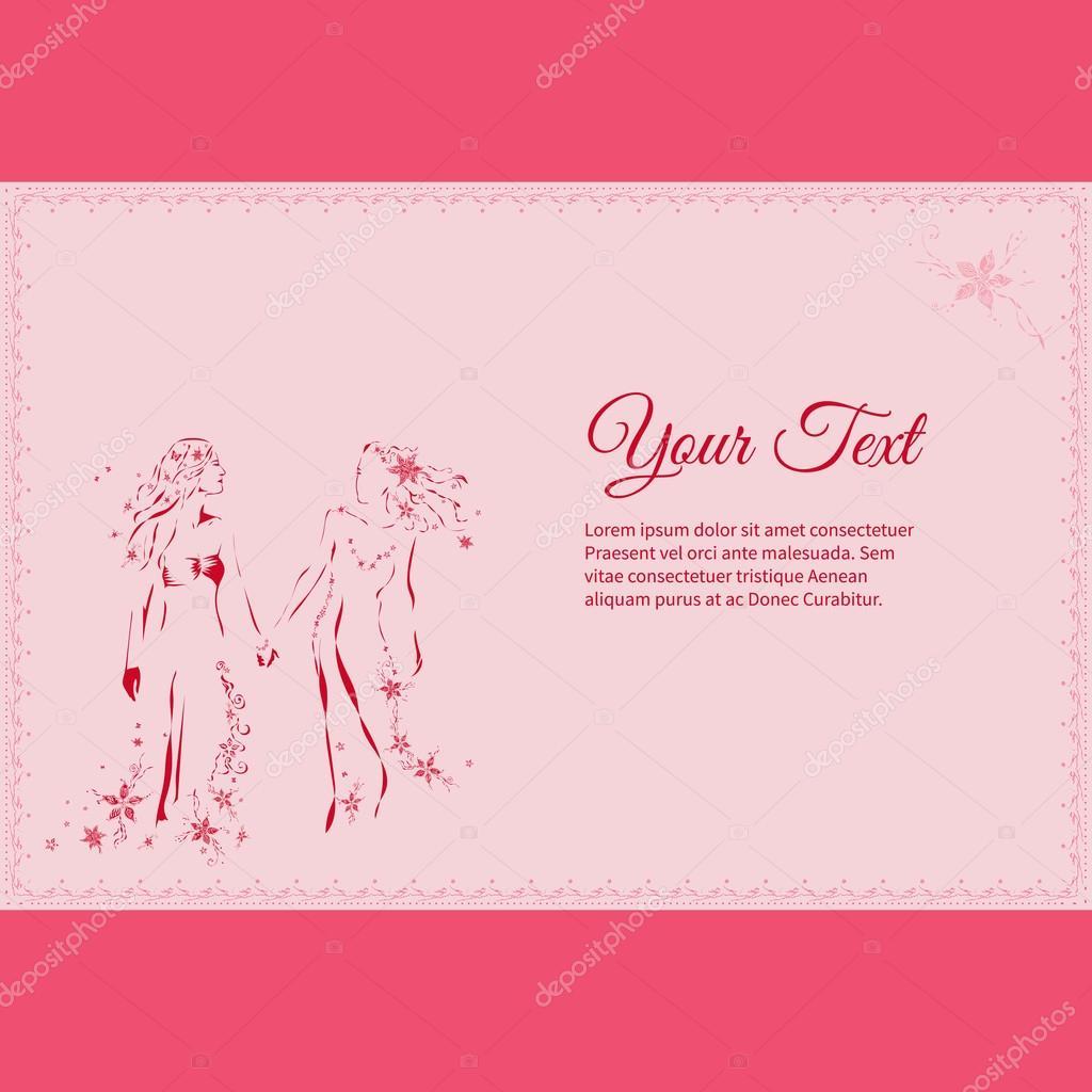 Vector de la imagen de la joven pareja de lesbianas hermosa ...