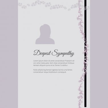 Deepest Sympathy vector lettering in abstract style, place for text and photo