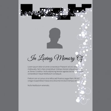In Loving Memory Of vector lettering in abstract style, place for text and photo