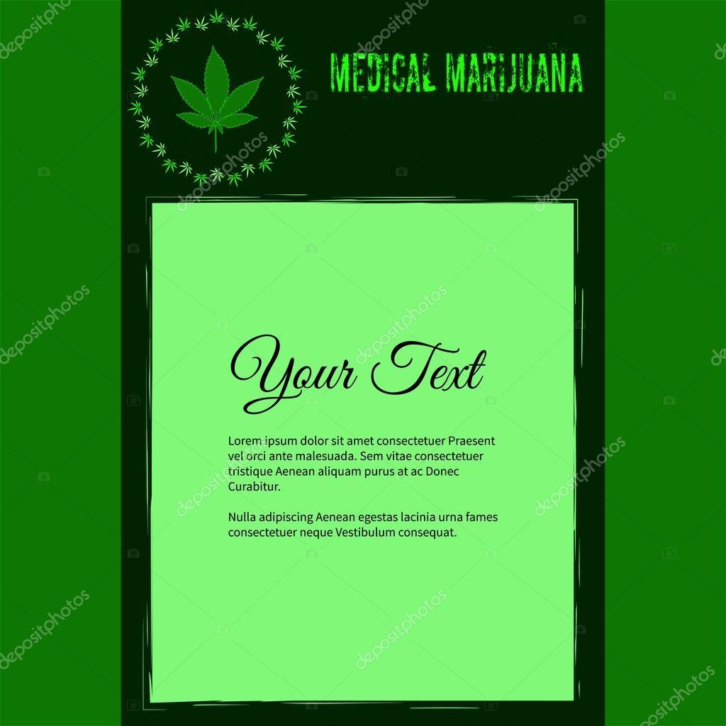 Rahmen für Text mit bunten Bild von Cannabis bewirkt, abstrakte ...