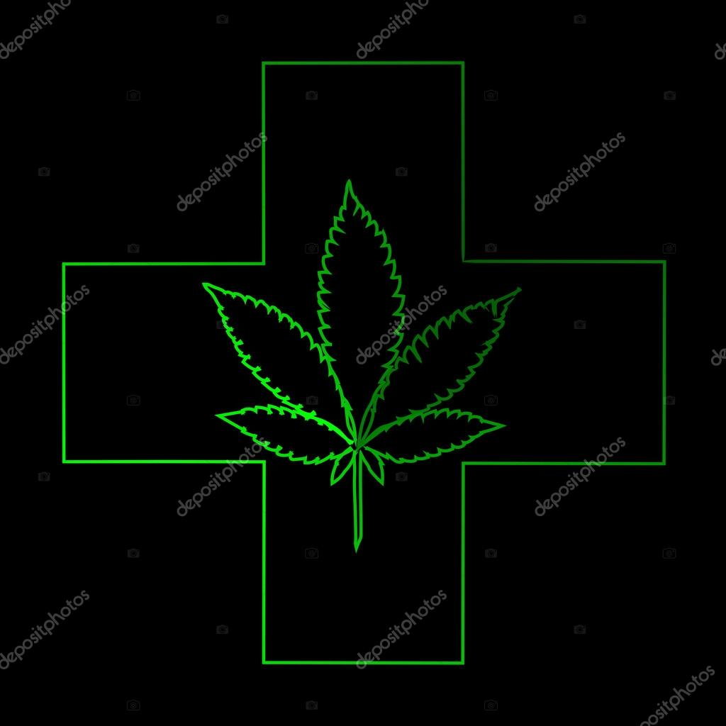 Marijuana Leaf In Abstract Style With Neon Green Cross Stock